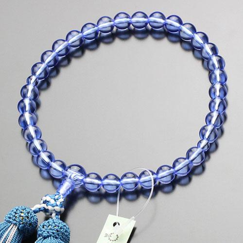 【数珠袋付き】数珠 女性用 約8ミリ ブルークォーツ 正絹房【京念珠 仏具 念誦 天然石 青水晶 JIM 102080084】【送料無料】