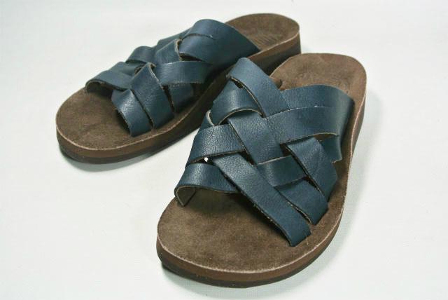 The Sandalman W's The Weave Leather Sandal(Navy×Brown) サンダルマン ウィメンズ ザ ウィーブレザーサンダル