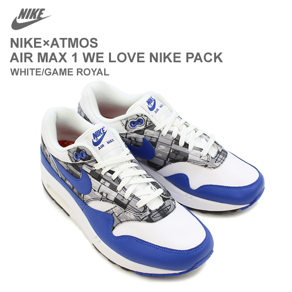the best huge selection of arrives Nike X atto- MOS (NIKE X ATMOS) Air Max 1 (AIR MAX 1 WE LOVE NIKE PACK) <<  WHITE/GAME ROYAL >> [CC]