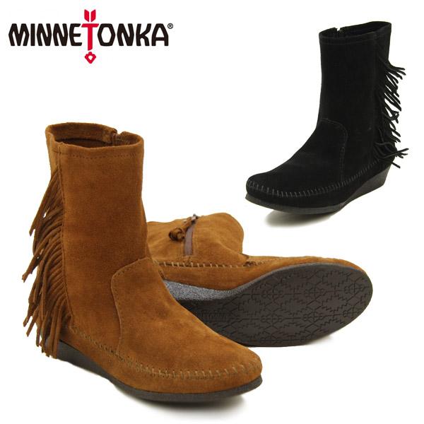 【送料無料】ミネトンカ(MINNETONKA) サイド フリンジ ウェッジ ブーツ(Side Fringe Wedge Boot) レディース/ウィメンズ用 スエード ブーツ【楽ギフ_包装選択】【r】【1】[BB]