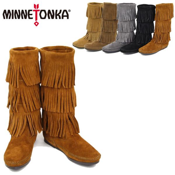 【送料無料】MINNETONKA Calf Hi 3-Layer Fringe Boot ミネトンカ カーフ ハイ 3レイヤー スエードフリンジブーツ (1631T-1632-1639)【楽ギフ_包装選択】【32】[BB]