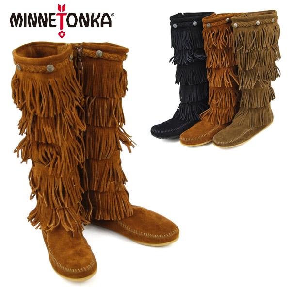 【送料無料】MINNETONKA 5Layer Fringe Long Boots ミネトンカ 5段フリンジ スエードロングブーツ【楽ギフ_包装選択】【30】[BB]