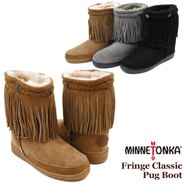 【送料無料】ミネトンカ(MINNETONKA) フリンジ クラシック パグ シープスキンブーツ/ムートンブーツ(Fringe Classic Pug Boot)【楽ギフ_包装選択】【31】[CC]