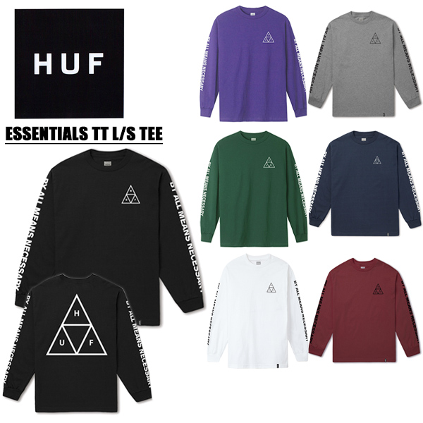 【ゆうパケット】ハフ(HUF)ESSENTIALS TRIPLE TRIANGLE L/S TEE メンズ 長袖 Tシャツ【22】[AA-2]