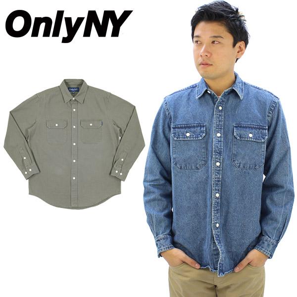 【送料無料】オンリー ニューヨーク(Only Ny) Washed Cotton Work Shirt 長袖シャツ/男性用/メンズ/デニム[BB]