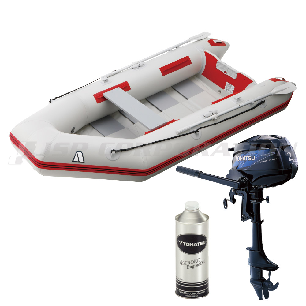 Rubber boat 4-crew Tohatsu 2HP outboard motor set Achilles PVL-310RU  roll-up floor