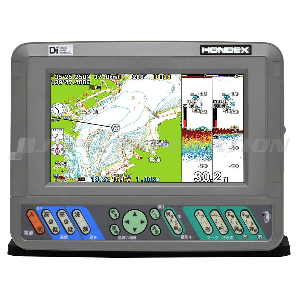 HONDEX(ホンデックス)7型ワイドカラー液晶 GPSプロッタ魚探PS-700GP-Di GPSアンテナ内蔵仕様 600W 50/200kHz 2周波