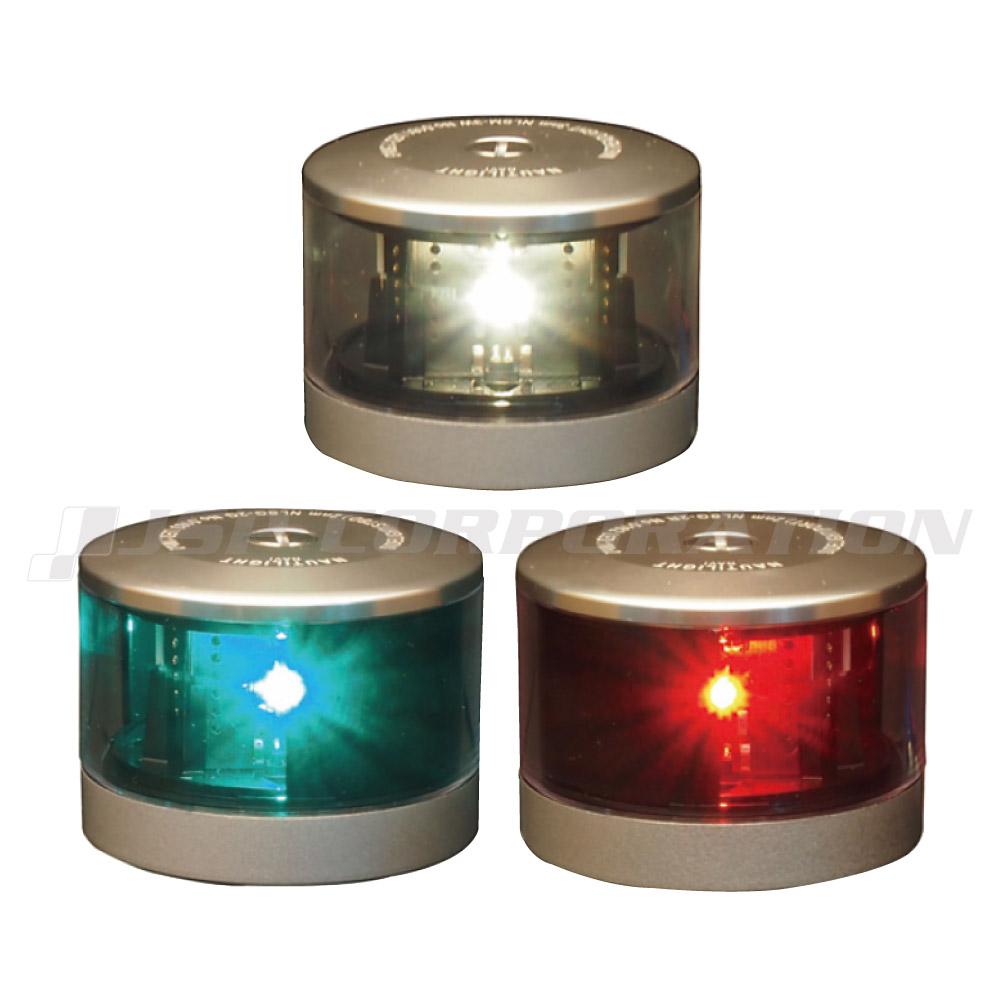 航海灯 LED 第二種 白灯 & 右舷灯(緑) & 左舷灯(赤) 3個セット 伊吹工業 小型船舶検査対応
