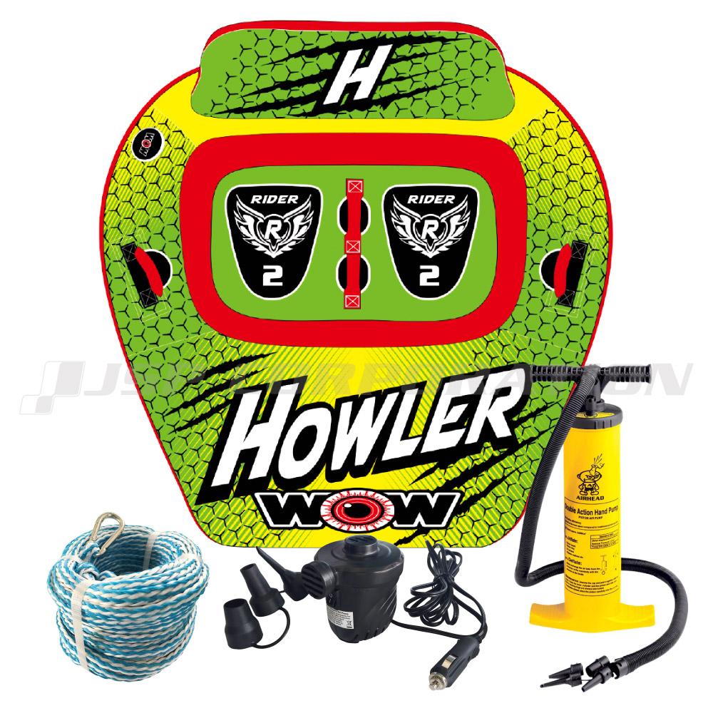 トーイングチューブ WOW/ワオ 2人乗り ハウラー 4点セット ロープ+ハンドポンプ+電動ポンプ付