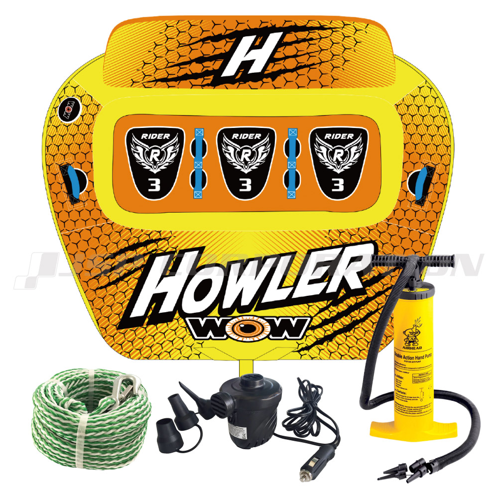 WOW(ワオ)ハウラー 4点セットロープ+ハンドポンプ+電動ポンプ付 3人乗り