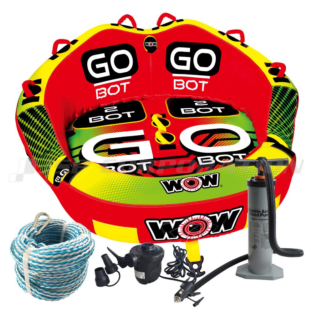 トーイングチューブ WOW/ワオ 2人乗り ゴーボット 4点セットロープ+ハンドポンプ+電動ポンプ付 バナナボート