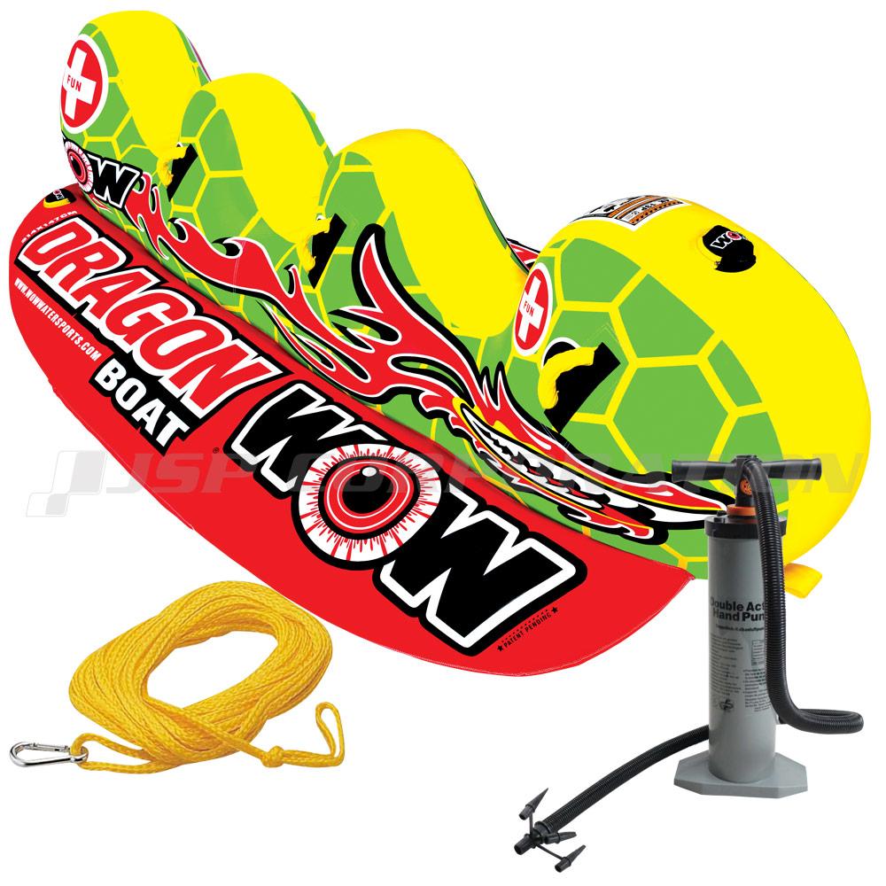 トーイングチューブ WOW/ワオ 3人乗り ドラゴンボート 3点セット バナナボート