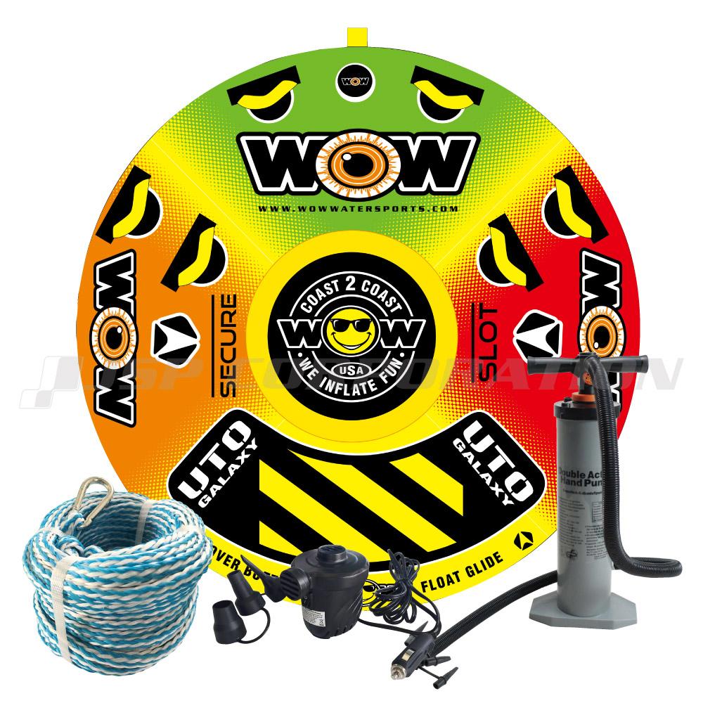 トーイングチューブ WOW/ワオ 1-2人乗り UTO ギャラクシー 4点セットロープ+ハンドポンプ+電動ポンプ付 バナナボート