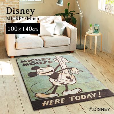 【Disney HOME Series】 ラグ マット ラグマット カーペット 防ダニ加工 耐熱加工 F☆☆☆☆ ディズニー 日本製 【Disneyzone】 neore / 【ミッキー ミュージック】ラグ【約100×140cm】