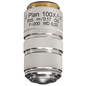 【日本製】明視野観察用 U Plan アクロマート対物レンズ 100倍 oil 絞り付