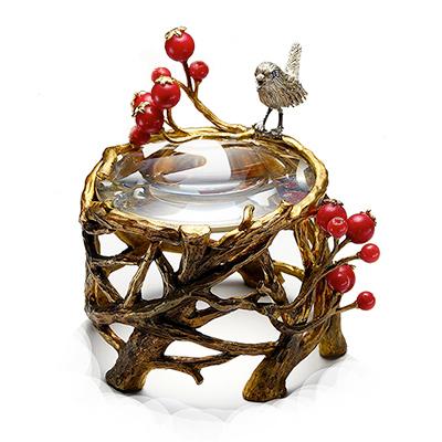 efluvi【小鳥と赤い実の置き型ルーペ】Paper Weight Loupe (ペーパーウェイトルーペ) / 書斎や客室などのインテリアにも最適