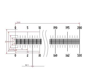 【 渋谷光学 ガラス 基準スケール(No.S1004) 】200mm 2000等分 線幅0.005mm