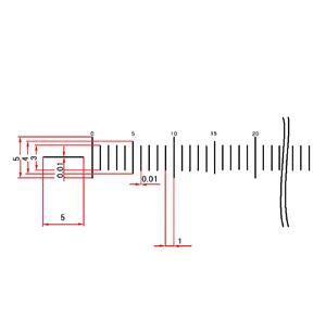 【 送料無料 】 【 渋谷光学 ガラス 基準スケール(No.S1041) 】50mm 50等分 線幅0.010mm