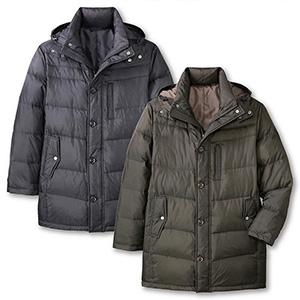 期間限定 TROY BROS/トロイブロス フード付きダウンハーフコート(C907553) 「紳士 メンズ フリース ダウンジャケット コート」