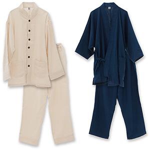 期間限定 優柔 纏(まとい)ドビー織 作務衣&パジャマセット肌に触れる裏地に和晒ガーゼを採用、通気性・吸水性に優れ柔らかな着心地、蒸し暑く不快な熱帯夜も快適に眠れるホームウェアです