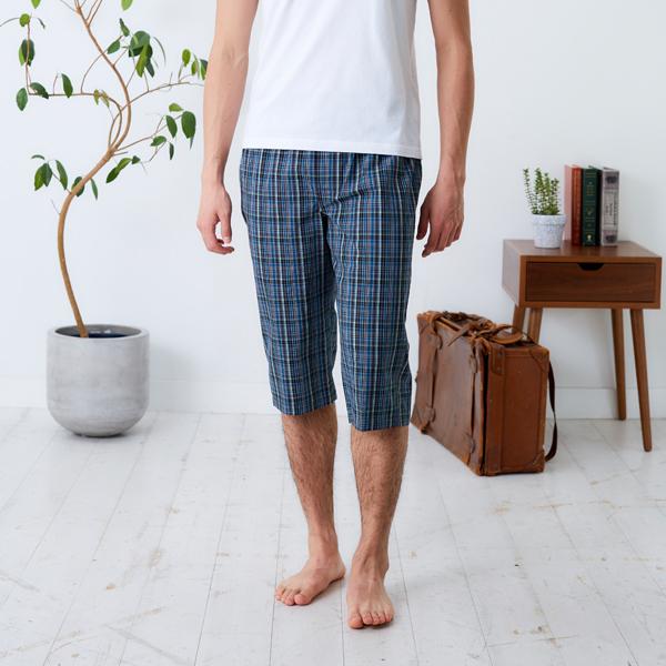 年中無休 ウエストゴムでゆったりタイプ 部屋着やパジャマとして ●スーパーSALE● セール期間限定 リラックスSUTETEKOメンズ チェック ステテコ すててこ M メンズ 綿100% LL ルームパンツ L