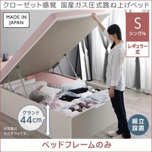 組立設置 クローゼット感覚ガス圧式跳ね上げベッド aimable エマーブル ベッドフレームのみ 縦開き シングル レギュラー丈 深さグランド44cm 「家具 ベッド 棚付 2口コンセント付き 収納ベッド 圧倒的収納力 おしゃれ フレーム 日本製」
