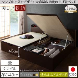 シンプルモダンデザイン大容量収納日本製棚付きガス圧式跳ね上げ畳ベッド 結葉 ユイハ シングル 深さラージ  「収納ベッド 美しい収納 畳の美空間 最大830Lの大容量収納 頑丈構造」