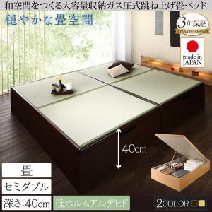 くつろぎの和空間をつくる日本製大容量収納ガス圧式跳ね上げ畳ベッド 涼香 リョウカ セミダブル 深さラージ  「収納ベッド 美しい収納 畳の美空間 最大830Lの大容量収納 頑丈構造 安心の国産品質」