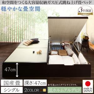 くつろぎの和空間をつくる日本製大容量収納ガス圧式跳ね上げ畳ベッド 涼香 リョウカ 国産畳 シングル 深さグランド  「収納ベッド 美しい収納 畳の美空間 最大830Lの大容量収納 頑丈構造 安心の国産品質」