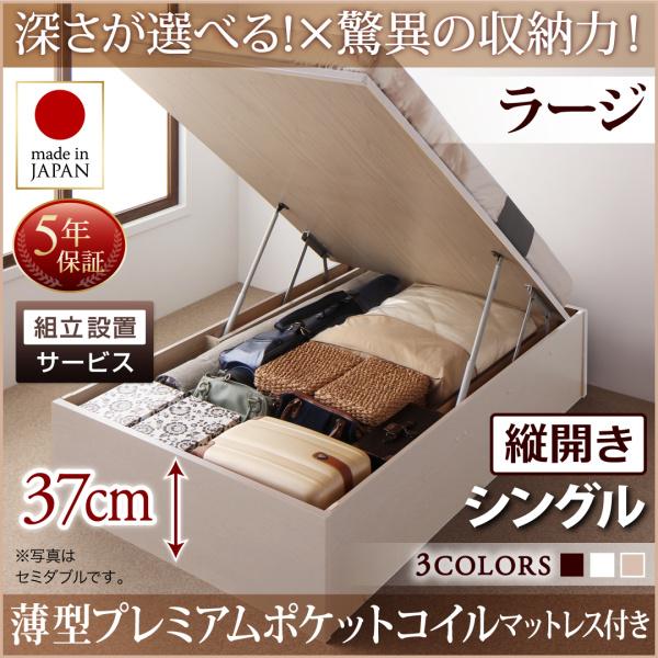 組立設置付 国産跳ね上げ収納ベッド Regless リグレス 薄型プレミアムポケットコイルマットレス付き 縦開き シングル 深さラージ
