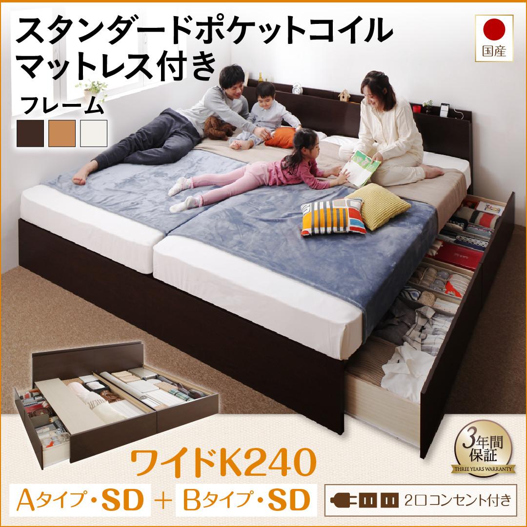 お客様組立 壁付けできる国産ファミリー連結収納ベッド Tenerezza テネレッツァ スタンダードポケットコイルマットレス付き A+Bタイプ ワイドK240(SD×2)