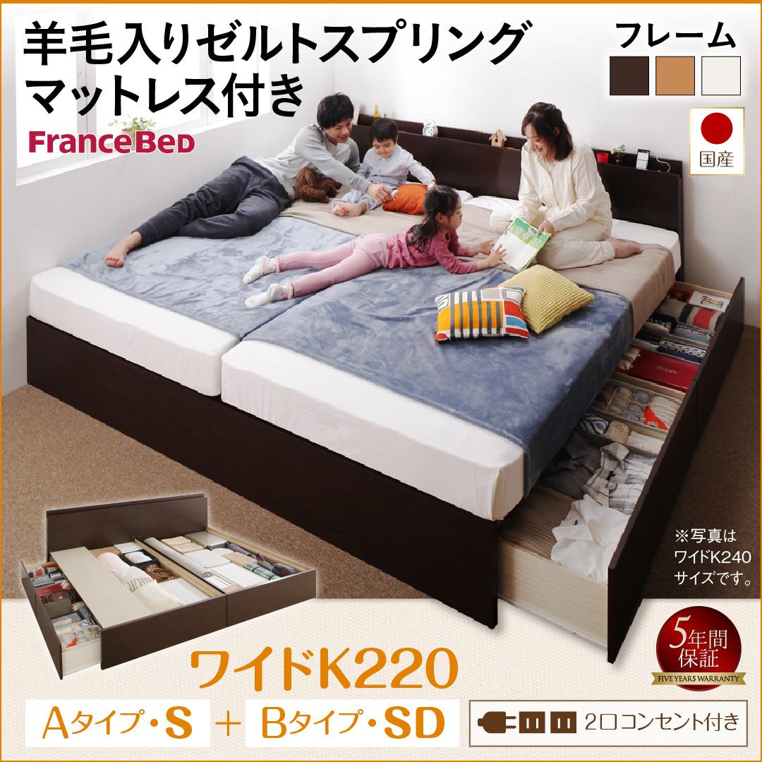 お客様組立 壁付けできる国産ファミリー連結収納ベッド Tenerezza テネレッツァ 羊毛入りゼルトスプリングマットレス付き A(S)+B(SD)タイプ ワイドK220