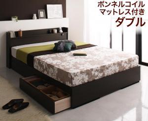 コンセント付き収納ベッド Silly シリー ボンネルコイルマットレス付き ダブル ダークブラウン  木製ベッド 国産フレーム シンプルな棚