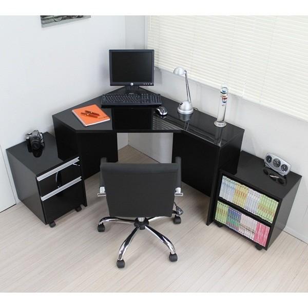 期間限定 コーナーデスク 高級ブラック鏡面 ハイタイプ デスク3点セット ブラック 日本製 (デスク+ラック+チェスト)パソコンデスク l字型 pcデスク 省スペース おしゃれ 北欧