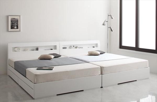 棚・コンセント付きデザイン収納ベッド【Silvia】シルビア【マルチラススーパースプリングマットレス付き】シングル   「収納ベッド ベッド 棚付け シングル」