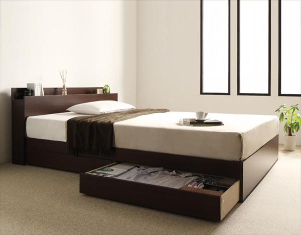 棚・コンセント付き収納ベッド virzell ヴィーゼル プレミアムボンネルコイルマットレス付き ダブル   木製ベッド シンプルデザイン 便利な棚 引き出し収納 左右取り付け両方OK