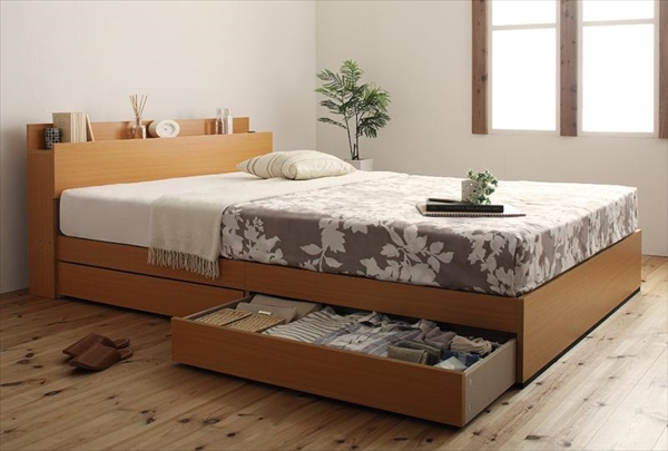 棚・コンセント付き収納ベッド【Kercus】ケークス【ボンネルコイルマットレス:ハード付き】ダブル   「収納ベッド ベッド 木製ベッド 棚付け 」