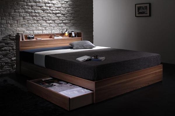 ウォルナット柄/棚・コンセント付き収納ベッド Espelho エスペリオ 国産カバーポケットコイルマットレス付き セミダブル    天然木 木目 木製ベッド 2杯の引き出し付き