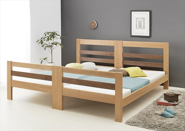 モダンデザイン天然木2段ベッド Silvano シルヴァーノ シングル  「2段ベッド ロータイプ シングルベッド 木製」