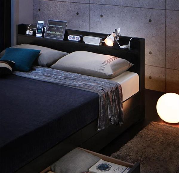スリム棚・多コンセント付き・収納ベッド Splend スプレンド スタンダードポケットコイルマットレス付き セミダブル   「進化するベッド 棚付ヘッドボード 便利な4つのコンセント付 引き出し収納付 左右入れ替え可能」