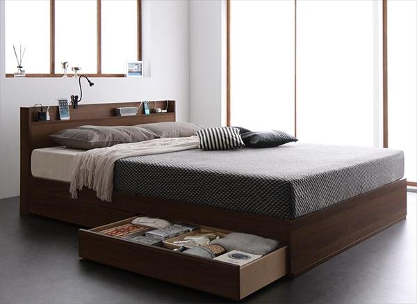 スリム棚・多コンセント付き・収納ベッド Splend スプレンド マルチラススーパースプリングマットレス付き ダブル   「進化するベッド 棚付ヘッドボード 便利な4つのコンセント付 引き出し収納付 左右入れ替え可能」