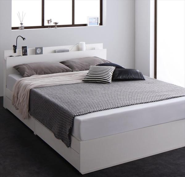 スリム棚・多コンセント付き・収納ベッド Reallt リアルト プレミアムポケットコイルマットレス付き ダブル   「進化するベッド 床板仕様 棚付ヘッドボード 便利な4つのコンセント付 引き出し収納付 左右入れ替え可能」