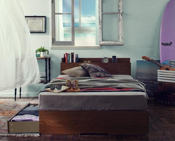 棚・コンセント付き収納ベッド【Arcadia】アーケディア床板仕様【マルチラススーパースプリングマットレス付き】シングル  「収納ベッド フレーム 床板仕様 棚 コンセント付 引出し収納 マットレス付き」