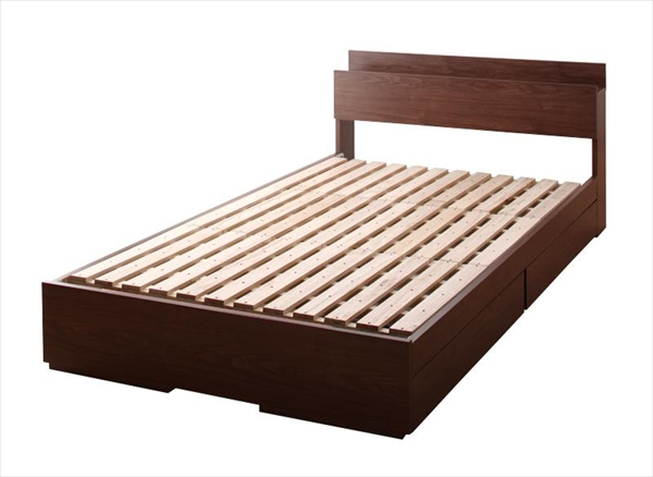 棚・コンセント付き収納ベッド【Arcadia】アーケディアすのこ仕様【フレームのみ】ダブル  「収納ベッド フレーム 天然木 すのこ仕様 棚 コンセント付 引出し収納 」