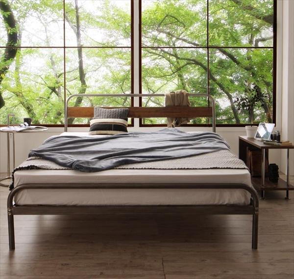 デザインスチールベッド Sidonia シドニア マルチラススーパースプリングマットレス付き ダブル   家具 インテリア デザインベッド 省スペース 通気性抜群 無骨なフレームがかっこいい ナチュラル ヴィンテージスタイル
