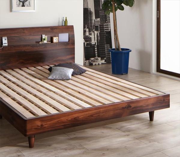モダンライト・コンセント付きすのこベッド Letizia レティーツァ ベッドフレームのみ ダブル 「天然木 通気性の良いすのこ仕様 桐すのこ 高級感 北欧 木目 美しい ヘッドボード 丈夫」