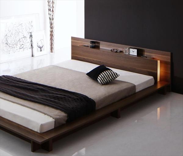 モダンライト・コンセント付きローベッド Burlington バーリントン スタンダードボンネルコイルマットレス付き シングル 「家具 インテリア ベッド フロアベッド ローモダンスタイル 床板仕様 マットレス付き」