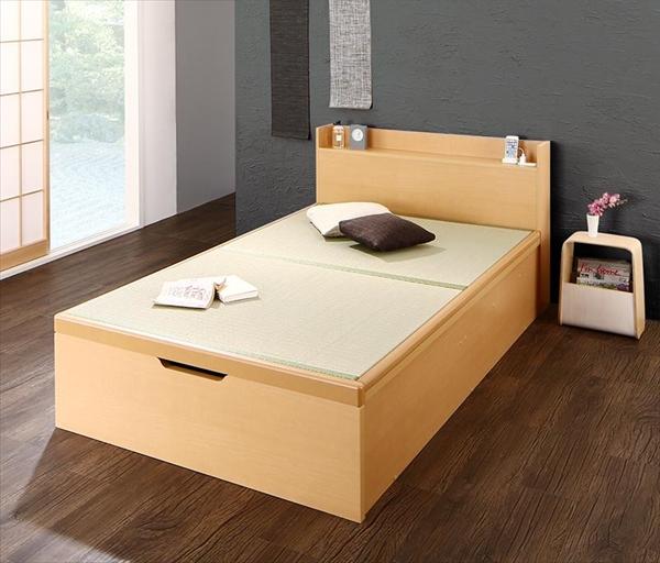 組立設置 シンプルモダンデザイン大容量収納日本製棚付きガス圧式跳ね上げ畳ベッド 結葉 ユイハ シングル 深さグランド  「収納ベッド 美しい収納 畳の美空間 最大830Lの大容量収納 頑丈構造」