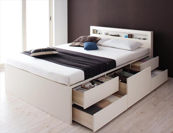 お客様組立 棚・コンセント付きチェストベッド Lagest ラジェスト 薄型スタンダードポケットコイルマットレス付き セミダブル   「ベッド チェストベッド 収納ベッド 収納力抜群 スマートデザイン 組立らくらく BOX構造 国産 」
