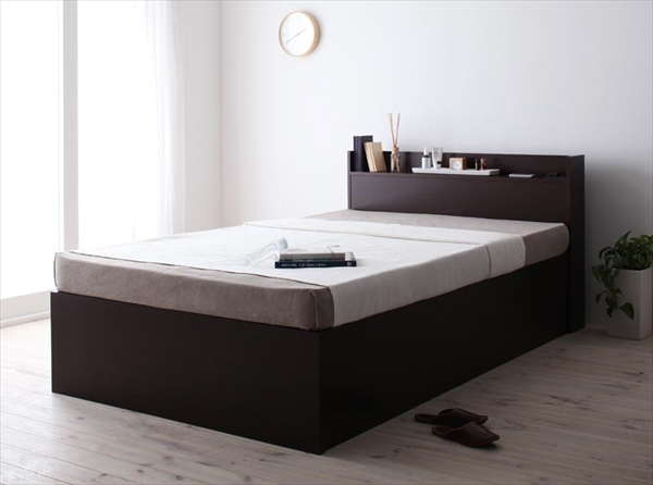 組立設置付 シンプル大容量収納庫付きすのこベッド Open Storage オープンストレージ 薄型スタンダードボンネルコイルマットレス付き セミダブル 深さレギュラー   「国産 ベッド すのこベッド 収納ベッド すっきり コンセント付き」